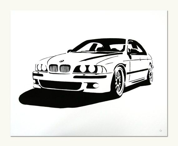 Classic Car Print Bmw E39 M5 By Manualdesigns On Etsy