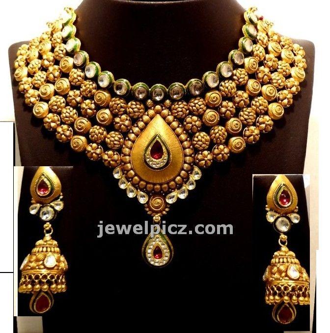 Buy Kundan Choker Necklace Priya Nacc10438c: Gitanjali Jewellers Gold Necklace Models