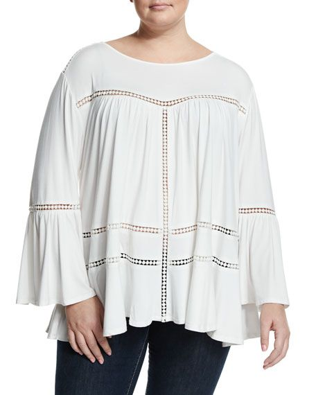 CiranaBell-Sleeve Lace-Inset Top, Off White, Plus Size