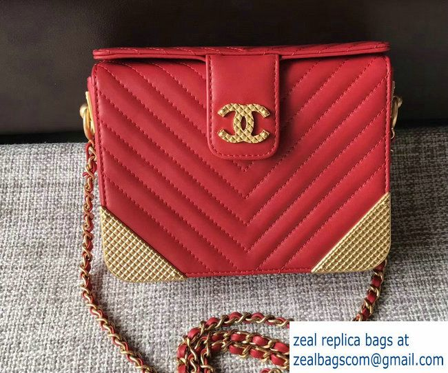 93adc1d7f2eb Chanel Lambskin Chevron with Gold-Tone Metal Minaudiere Bag A94507 Red 2017