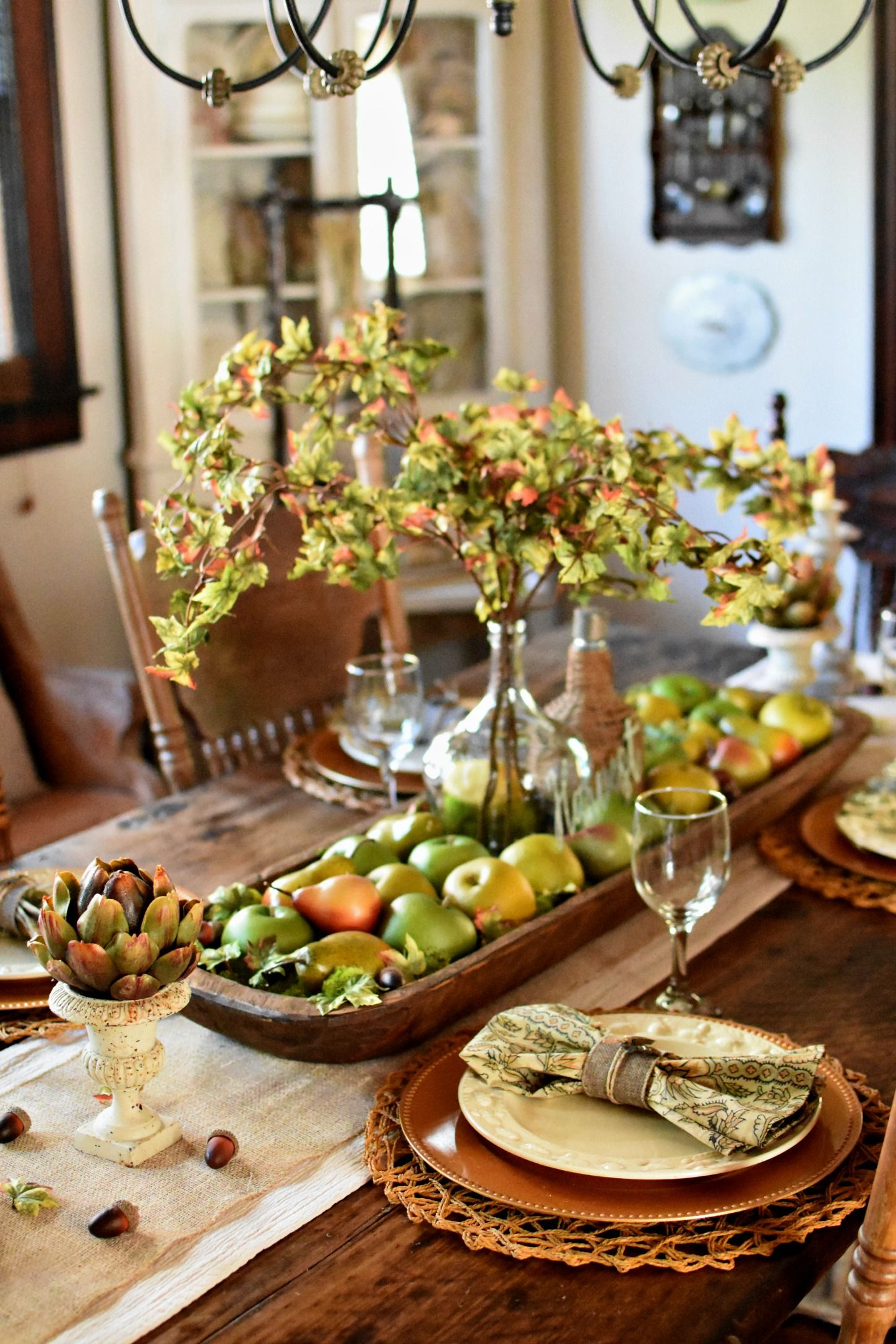Home interior fruit plates early fall tablescape harvest fruits apples pears french country