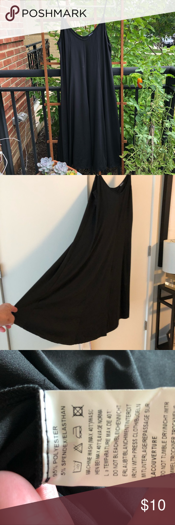 Black flowy dress with spaghetti straps this dress is inches long