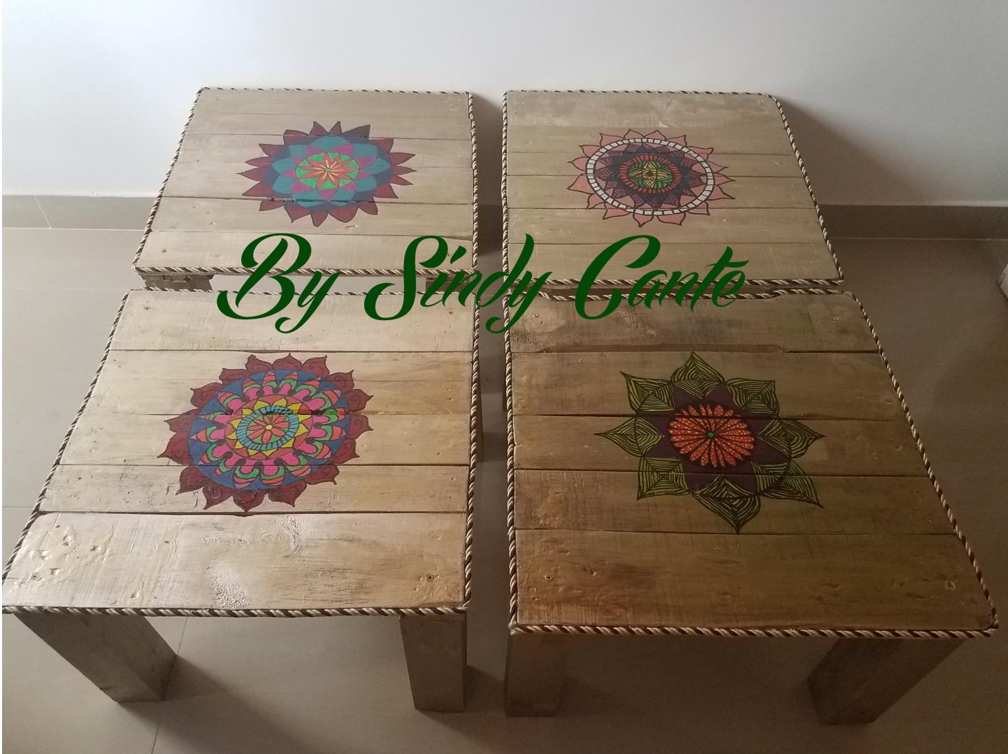 Mesas Zen con Mandalas hechas de pallets