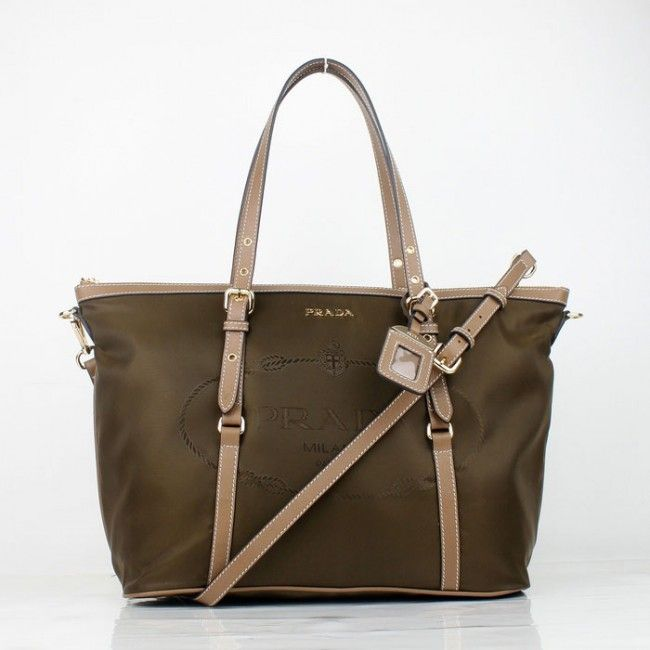 ad7cd67b988042 ... discount prada large bag khaki nylon with leahter trim 9614 sku 727739  447dc 76a30