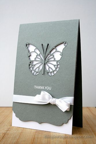 handmade thank you card ... luv the elegant look of silver gray and white ... negative space lacy butterfly die cut embedded back into the open space ... like the shaped border .... great card ...