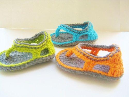 sandalias de colores a crochet