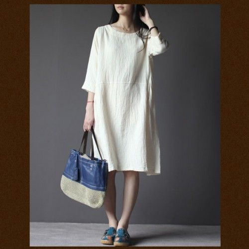 Omychic White Linen Dress Three Quarter Sleeves Sundressthis Dress