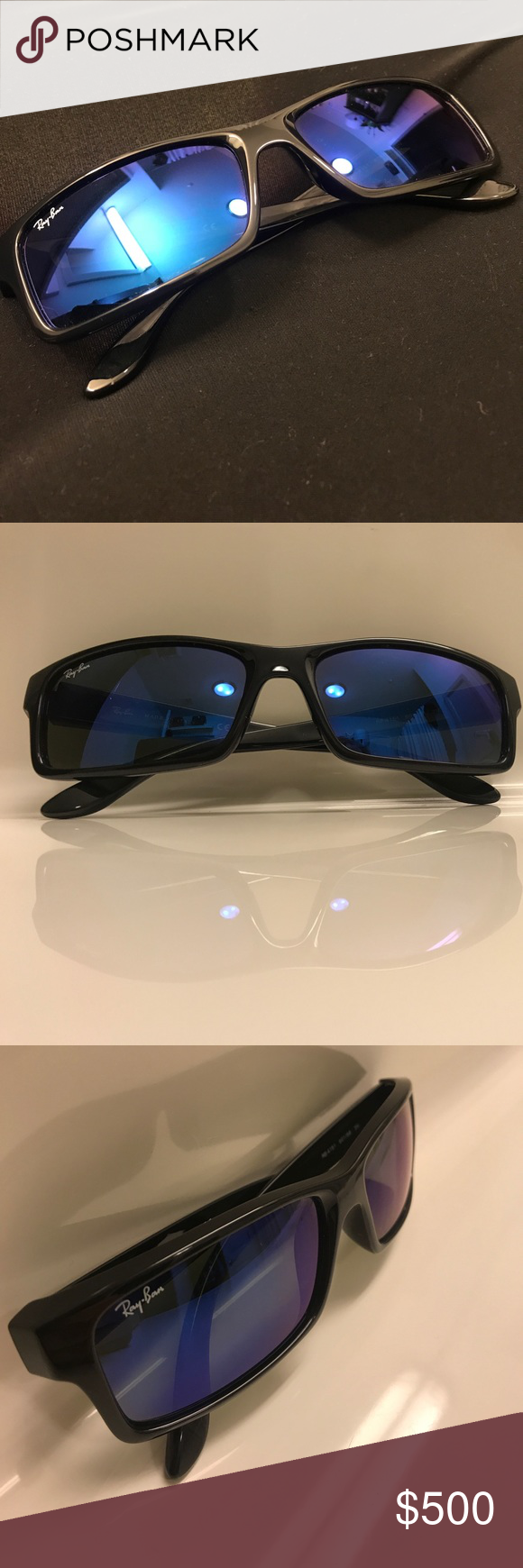 437f6ff3f8e Ray Ban RB4151 Men s Sunglasses Ray Ban RB4151 Men s Sunglasses. 601 68 3N. Blue  Metallic Lenses. Shiny Black Frame. Doesn t come with case. Made in Italy.