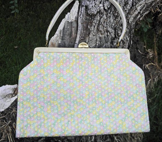Vintage Eyelet Shell Clasp Box Purse / Hand by AtticAddictsVintage, $30.00