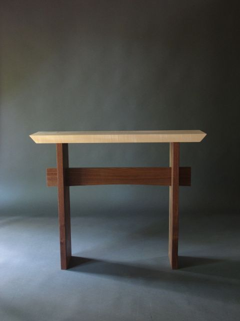 Love the zen feel of this Statement Hall Table a Modern wood hall