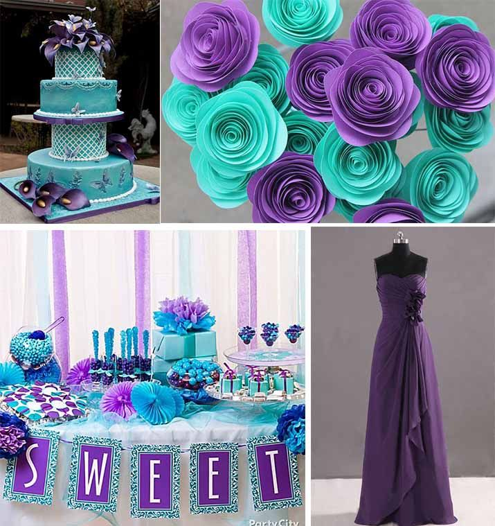Best Ideas For Purple And Teal Wedding: Decorated Purple And Teal Wedding Party With Flowers And