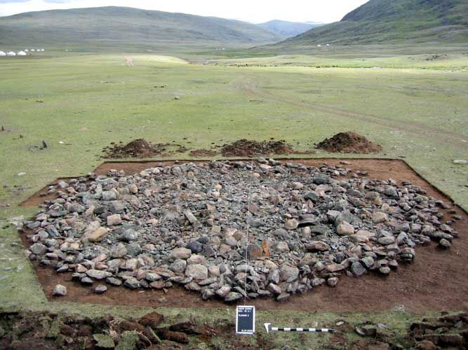 The dig site in the Altai Mountains. Permafrost kept the body from rotting away.