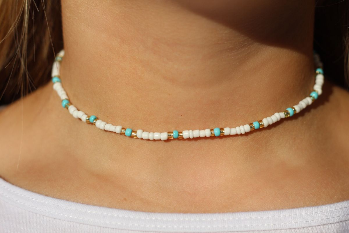 Photo of Blue, white, and gold summer choker