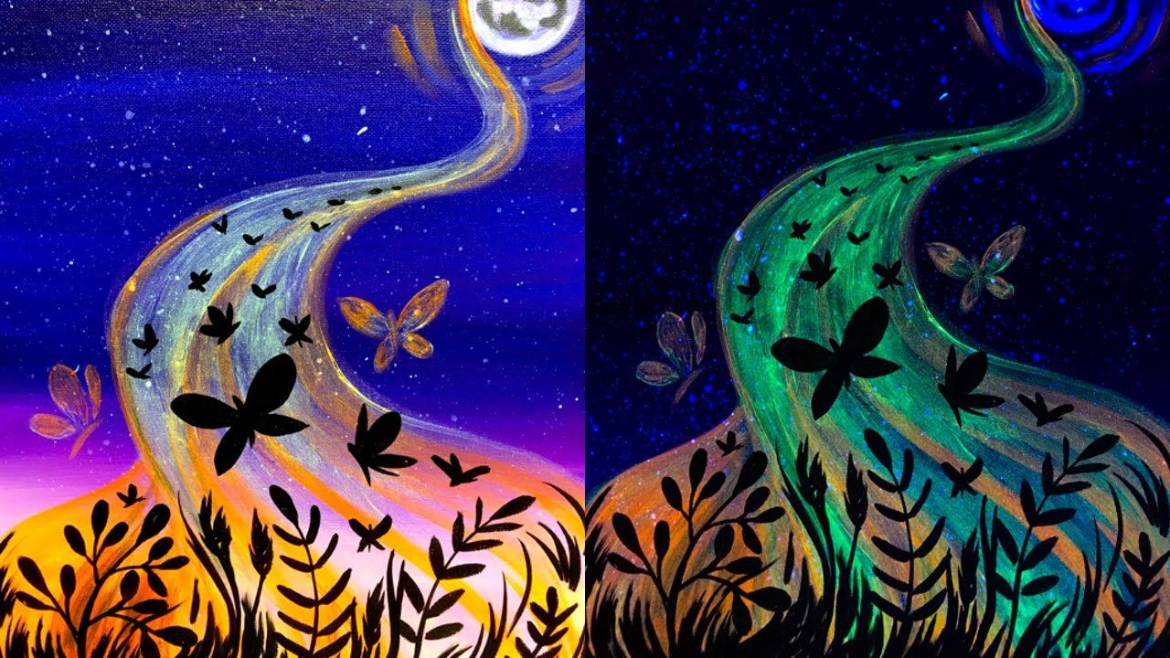 Uv Glow Erflies Acrylic Painting