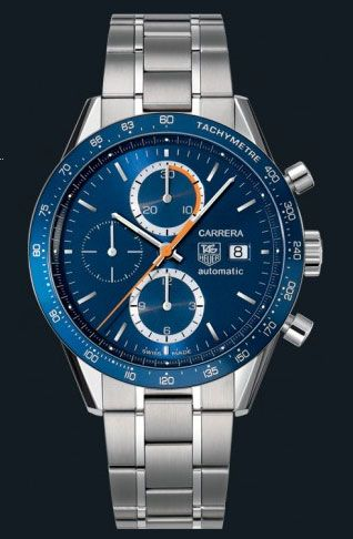 d927b3b28d5 Swiss Tag Heuer Carrera Chronograph Tachymetre with Blue Face and Stainless  Steel Bracelet Men s Replica Watch
