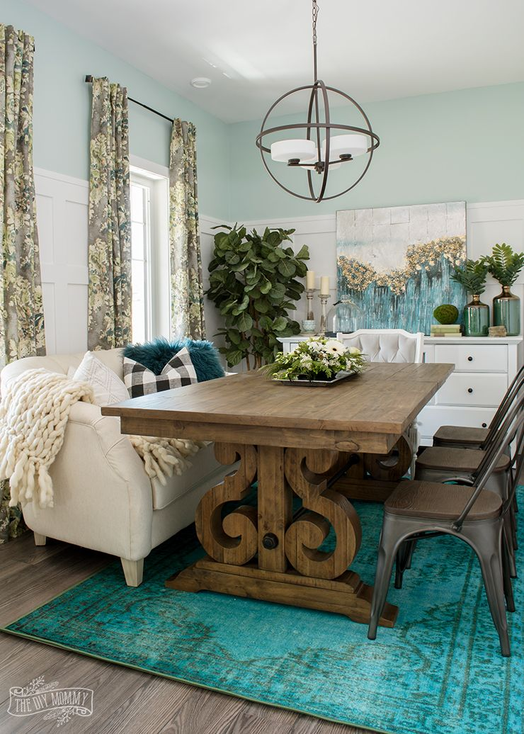 Eclectic Boho Farmhouse Dining Room Design In Teal Black And White