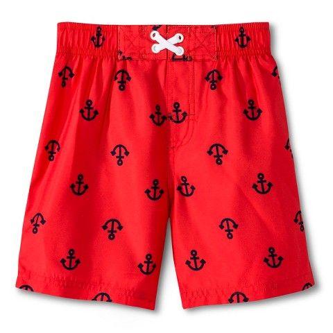 Newborn Boys' Anchor Swim Trunks - Red