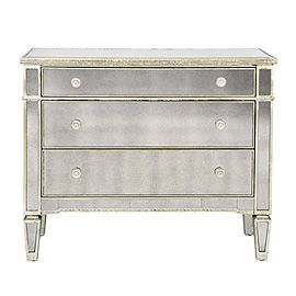 Borghese Mirrored 3 Drawer Chest Dresser With Mirror