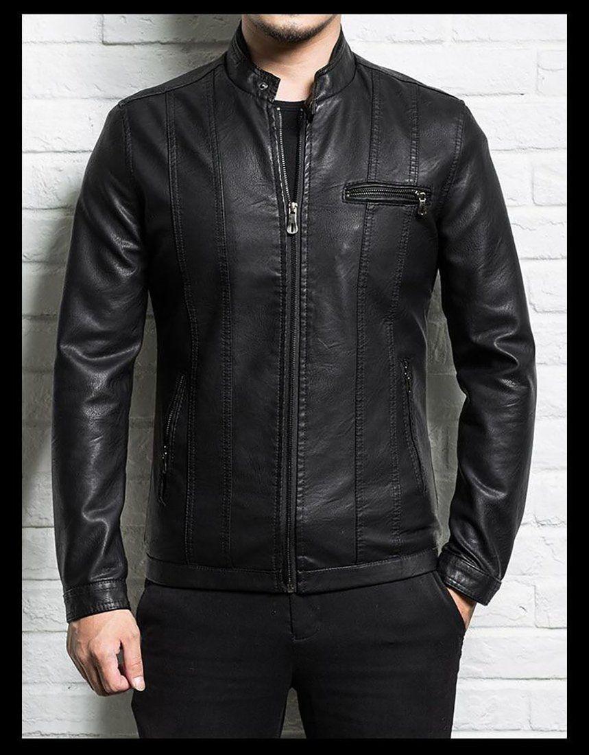 Men S Leather Jacket Sheepskin Slim Zipper For Spring Autumn Motorcycle Leather Jacket Spring Leather Jacket Leather Jacket Men [ 1100 x 859 Pixel ]