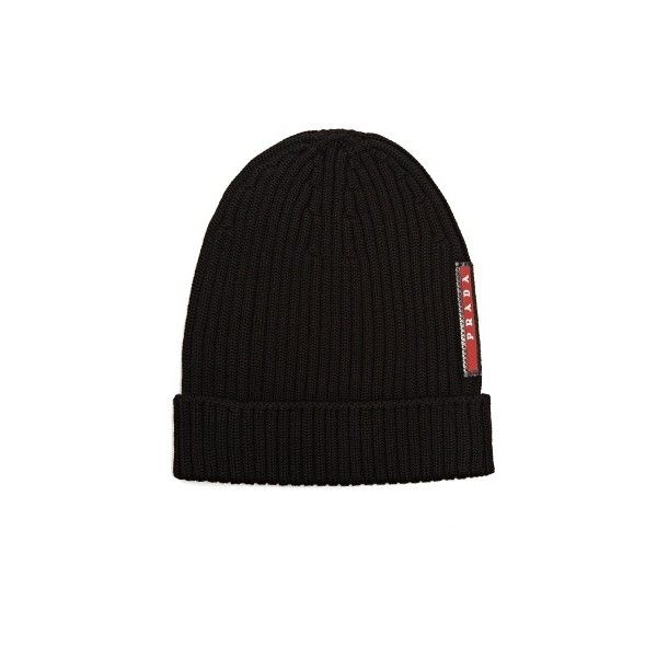 b21d4878cc1 Prada Ribbed-knit beanie hat ( 180) ❤ liked on Polyvore featuring men s  fashion