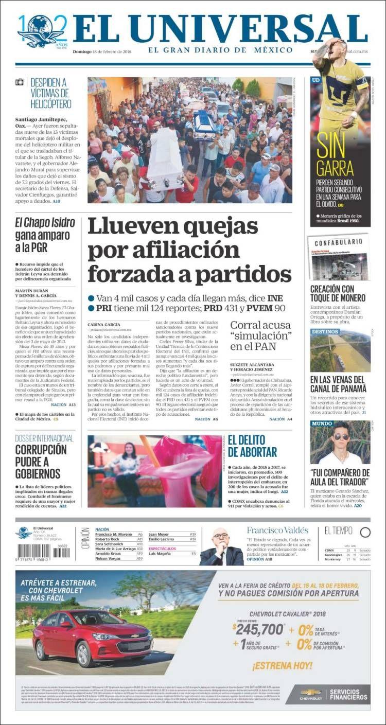 Portada De El Universal Mexico El Universal Mexico El Universal Periodico De Mexico