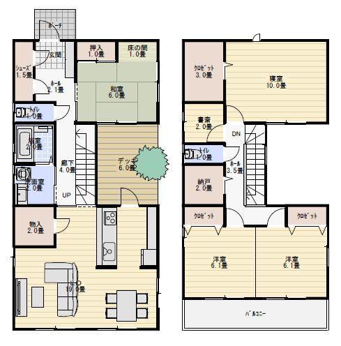 40坪 デッキ中庭のある家 間取り 40坪 間取り 間取り 30坪