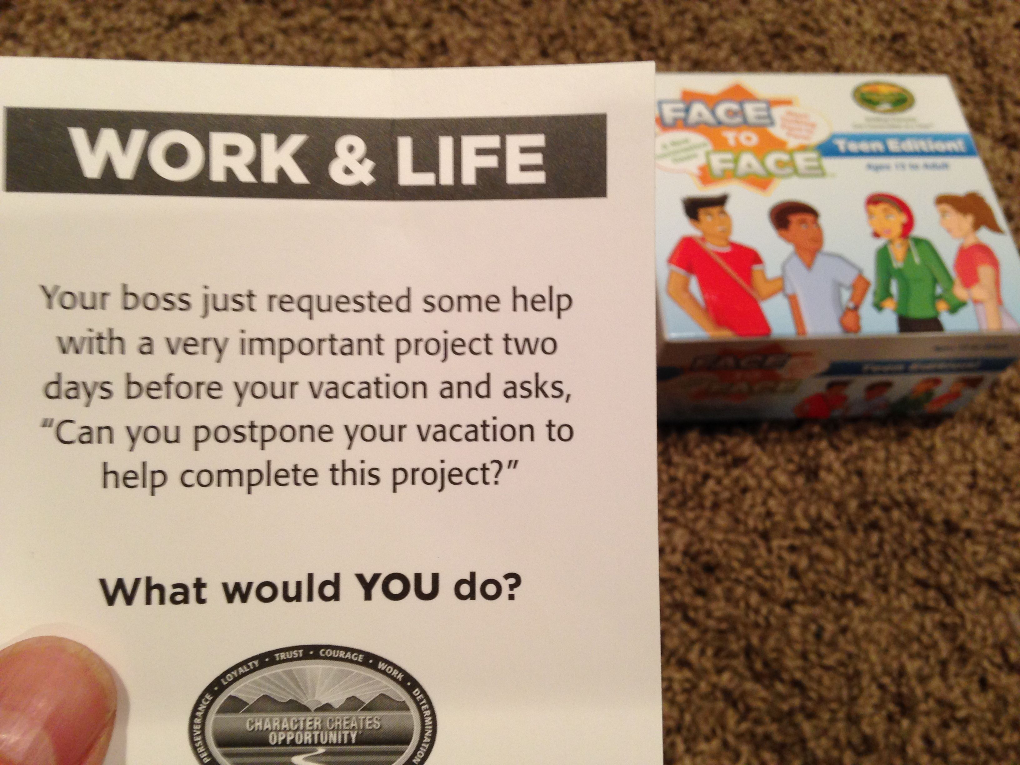 The commitment to work...What would YOU do?  TEEN Edition of FACE to FACE. Scenario of the Day. 12 08 14