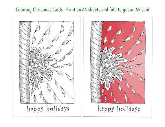 Happy Holidays Printable Coloring Christmas Card Diy Holiday Etsy Christmas Coloring Cards Print Christmas Card Printable Christmas Cards