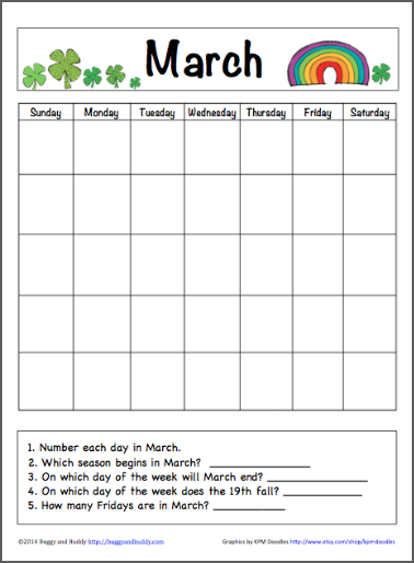 Kids Learning Calendar : March calendar for kids free printable