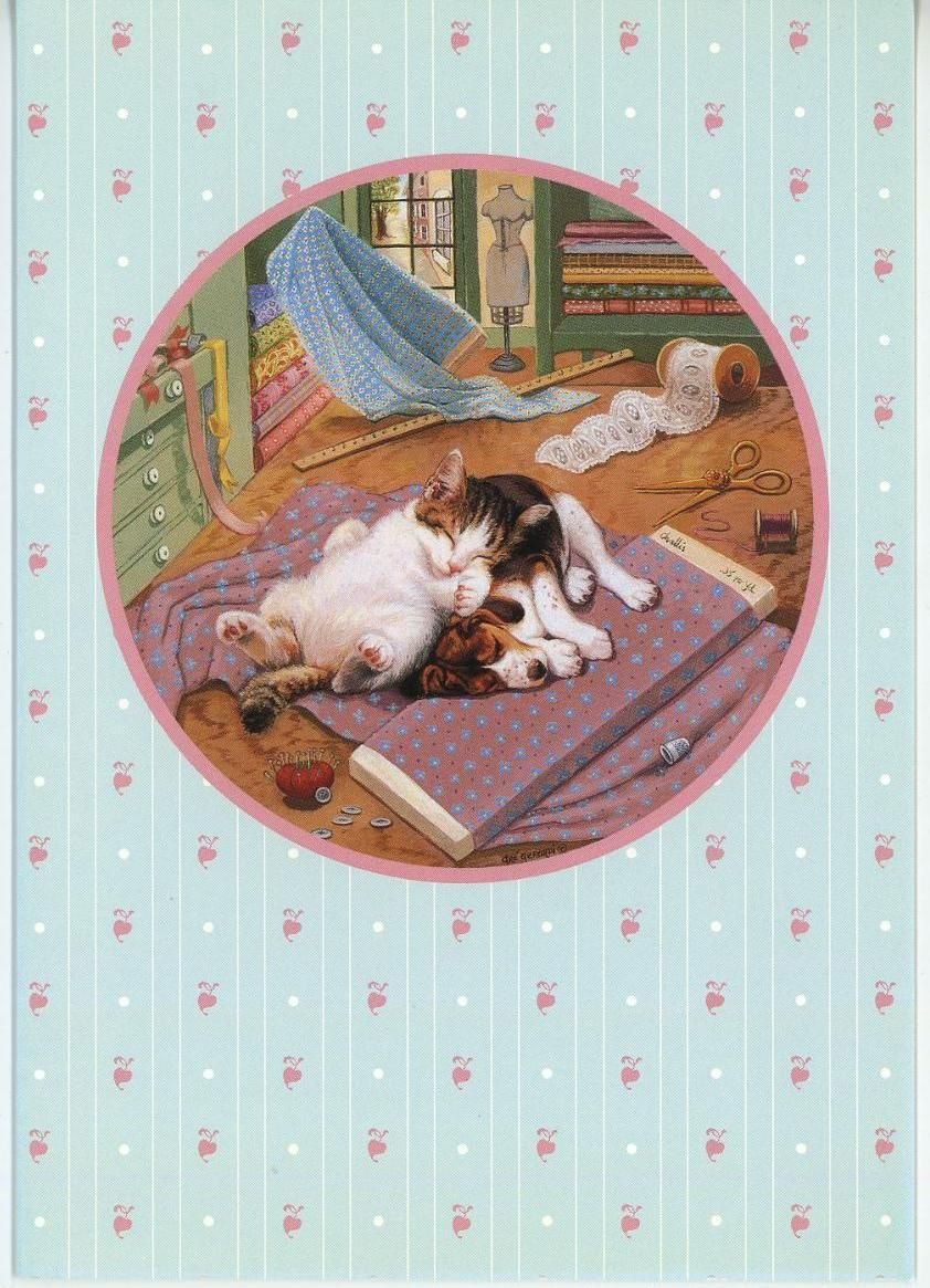 Tabby Cat Sleeping Beagle Puppy Dog Sewing Sew Room Litho Print Greeting Card Cats And Kittens Beagle Puppy Tabby Cat