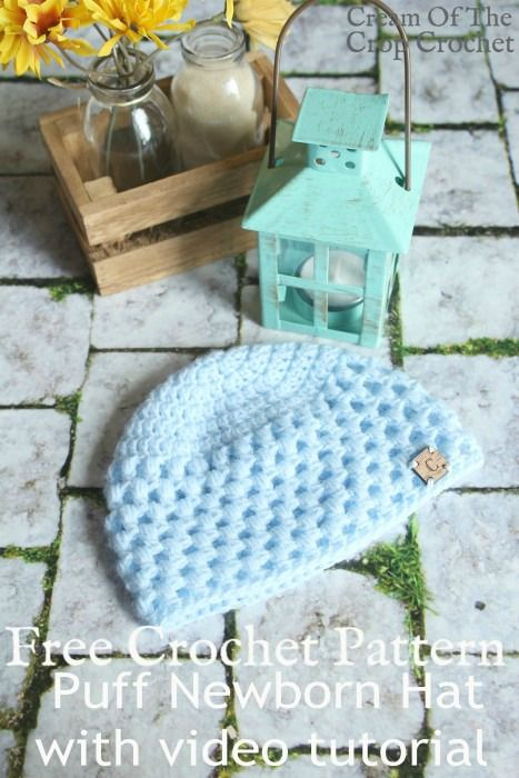 Puff Newborn Hat Crochet Pattern   Cream Of The Crop Crochet ...
