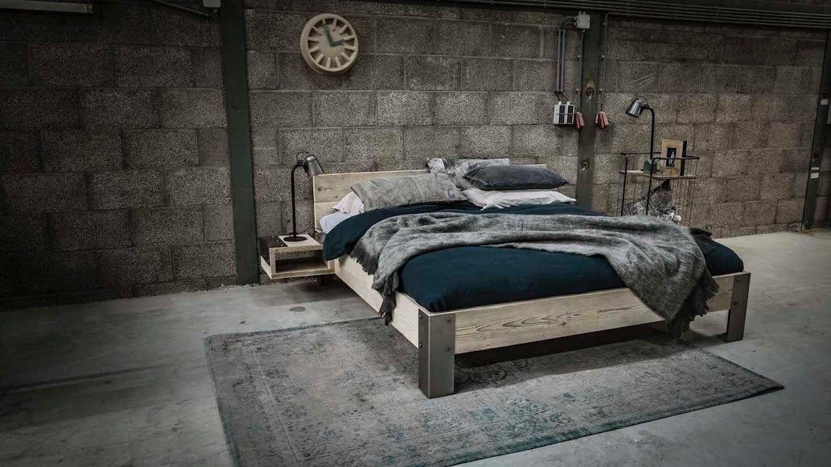 stoer bed hippo van steigerhout met staal bed slaapkamer u0026 bed