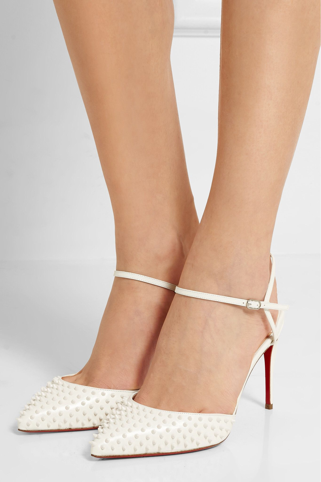 White Baila 85 spiked leather pumps