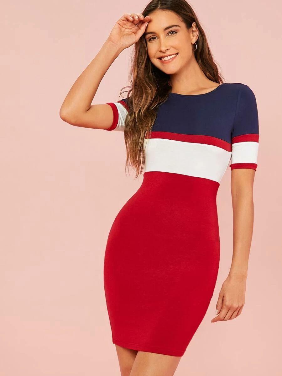 22++ Color block body con dress information