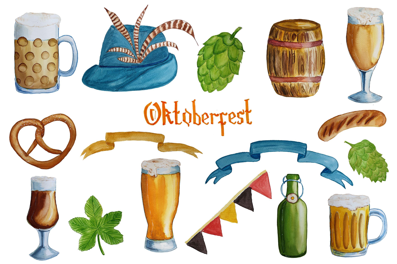Watercolor Beer Clipart Beer Mugs Oktoberfest Poster