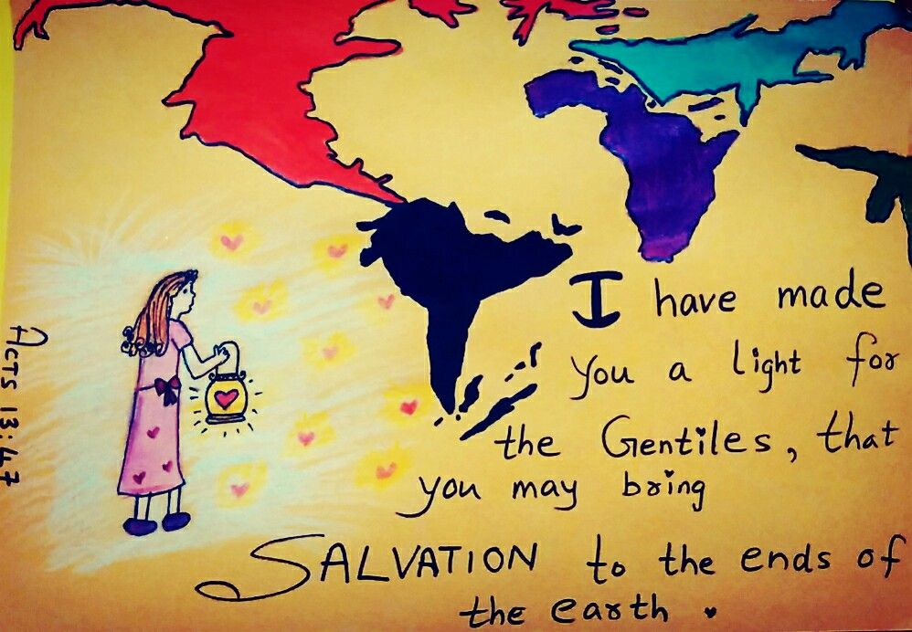 """The Lord👆🏻 has commanded👄 us, saying,   """"👆🏻I have made👉🏻 you a light🕯 for the Gentiles👨🏻👴👱🏽👩🏻💁🏾, that you may bring salvation 💜to the ends of the earth🌍.""""  Acts 13:47😇  Bible art by Sneha Mary Johns"""
