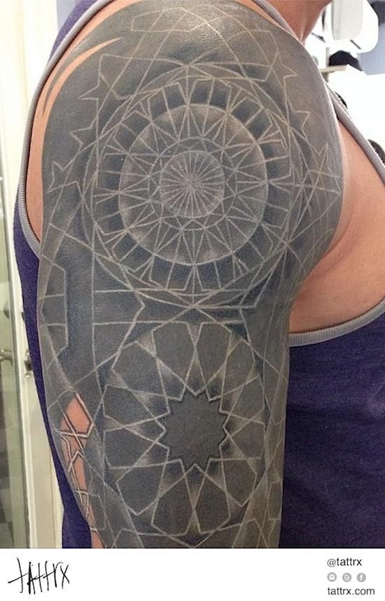 f5ec9e94ede00 Nathan Mould - White Ink Over Blackwork (Healed) tumblr: nathanmouldtattoo
