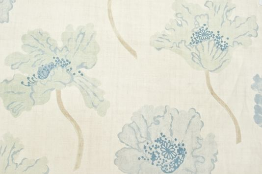 Poppy Linen Fabric Cream Linen Fabric With Large Printed Poppy