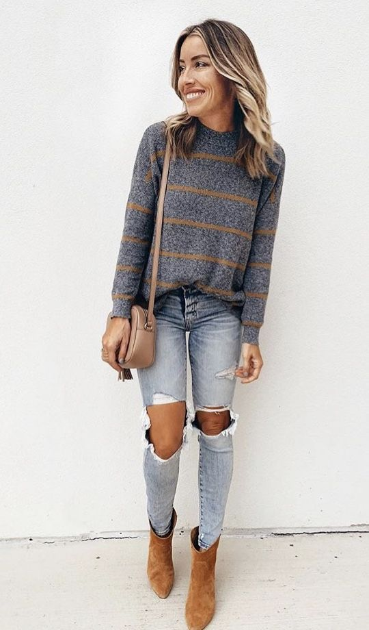 ❤ Camel stripe charcoal grey sweater, faded skinny jeans, chestnut booties, cr…