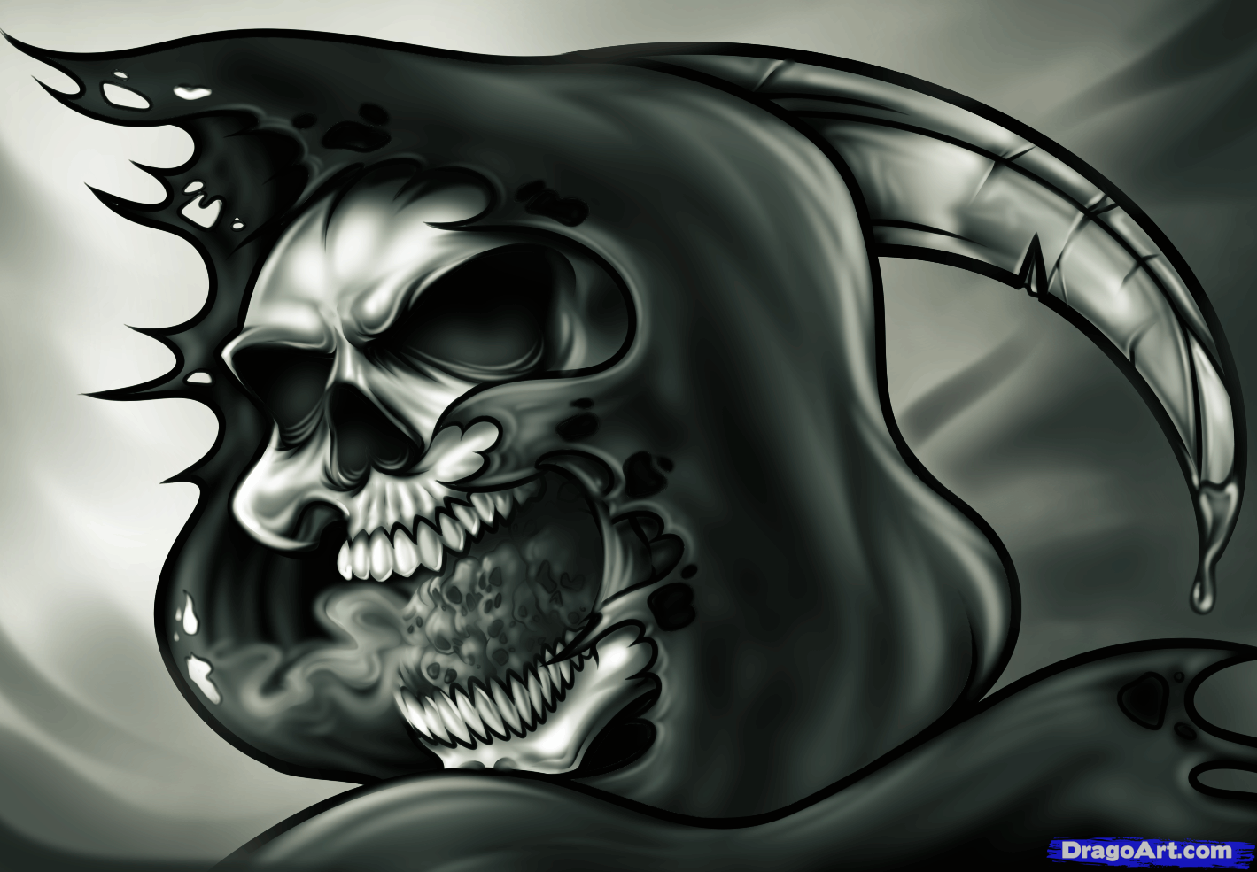tattoo designs skulls demons reapers how to draw a grim