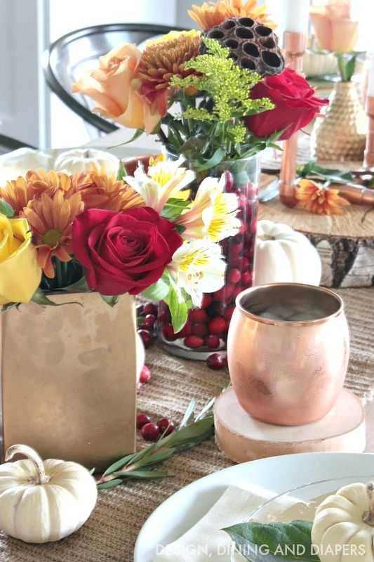Fall Table Setting with copper mugs