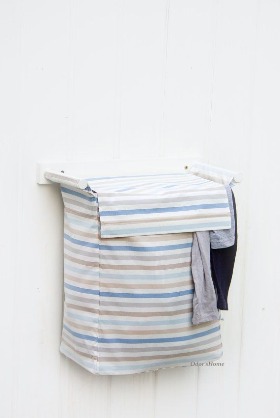 Wall Hanging Laundry Fabric Basket With 1 Bin Striped Ikea