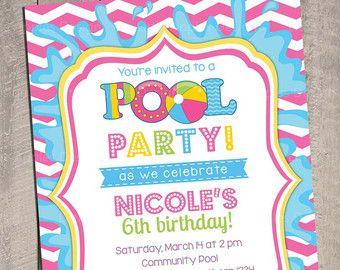 Pool Invitation Pool Party Invitation Kids Pool Party Invitation