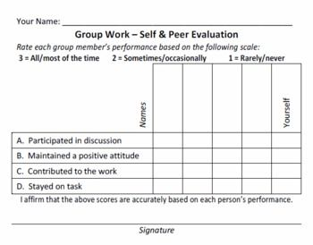 Simple And Quick Group Work Evaluation Form  Free From Teachers