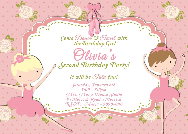 CUSTOM PHOTO Invitations Ballerina, Ballet, Dance Party Birthday ...