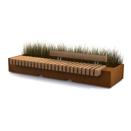 STREETLIFE R&R Big Green Benches Bench with optional backrest. #StreetFurniture #UrbanDesign #PlanterBench #CorTen