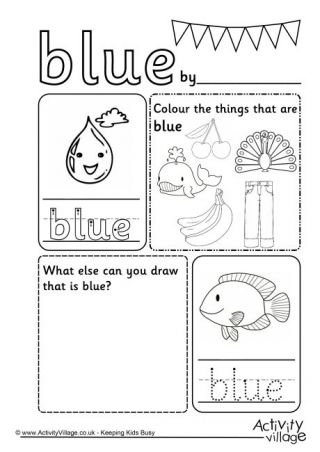Blue Colour Worksheet For kids Daycare Color