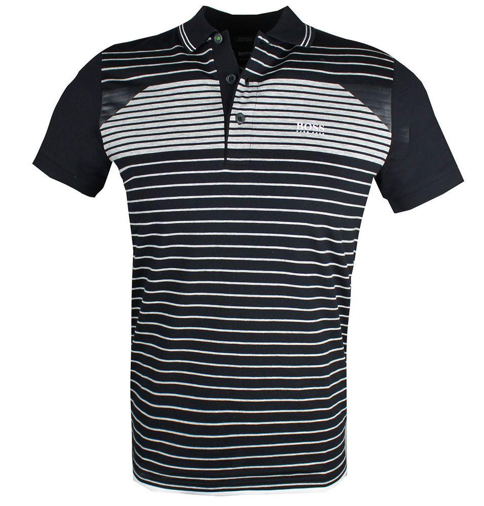 262518553 Hugo Boss 50383558 Paddy 5 black striped polo s m l xl 2xl 3xl #HugoBoss  #PoloRugby