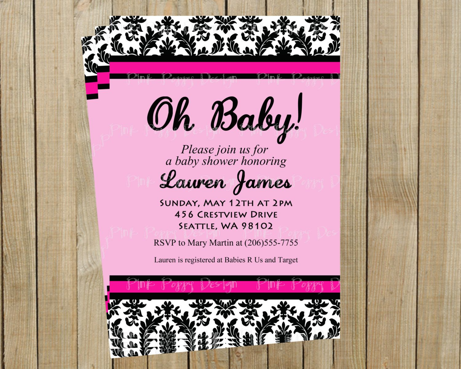 Black and White Damask with Pink Baby Shower Invitation, Girl ...