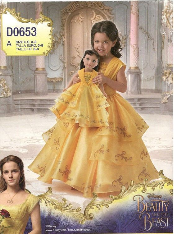 Sewing Pattern Child & 18 Inch Doll Disney Live Action Belle Costume ...